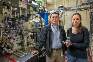 Bin Chen and Katie Lutker at ALS Beamline 12.2.2 were part of a multi-institutional team that determined the tiny size of nanocrystals is no safeguard from defects. (Photo by Roy Kaltschmidt)